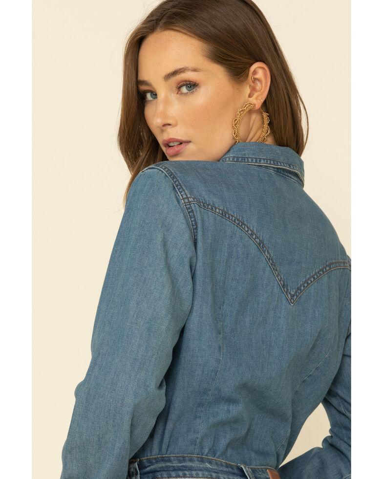 Wrangler Women's Medium Denim Snap Long Sleeve Western Shirt , Blue, hi-res