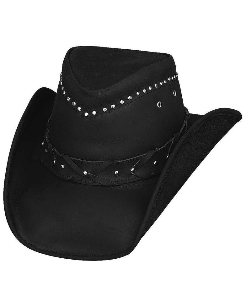Bullhide Burnt Dust Top Grain Leather Hat, Black, hi-res