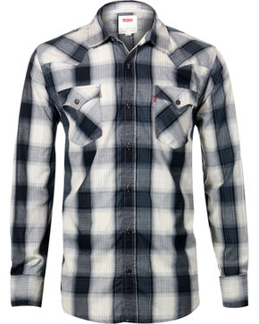 Levi's Men's Long Sleeve Plaid Shirt, Grey, hi-res