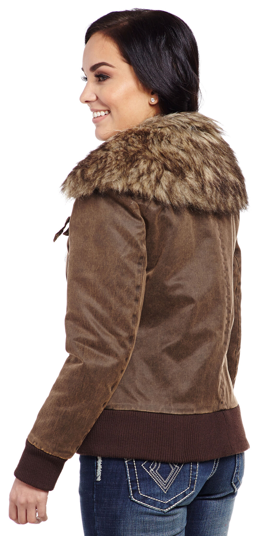 Cripple Creek Women's Banded Bottom Fur Collar Jacket, Antique Chocolate, hi-res