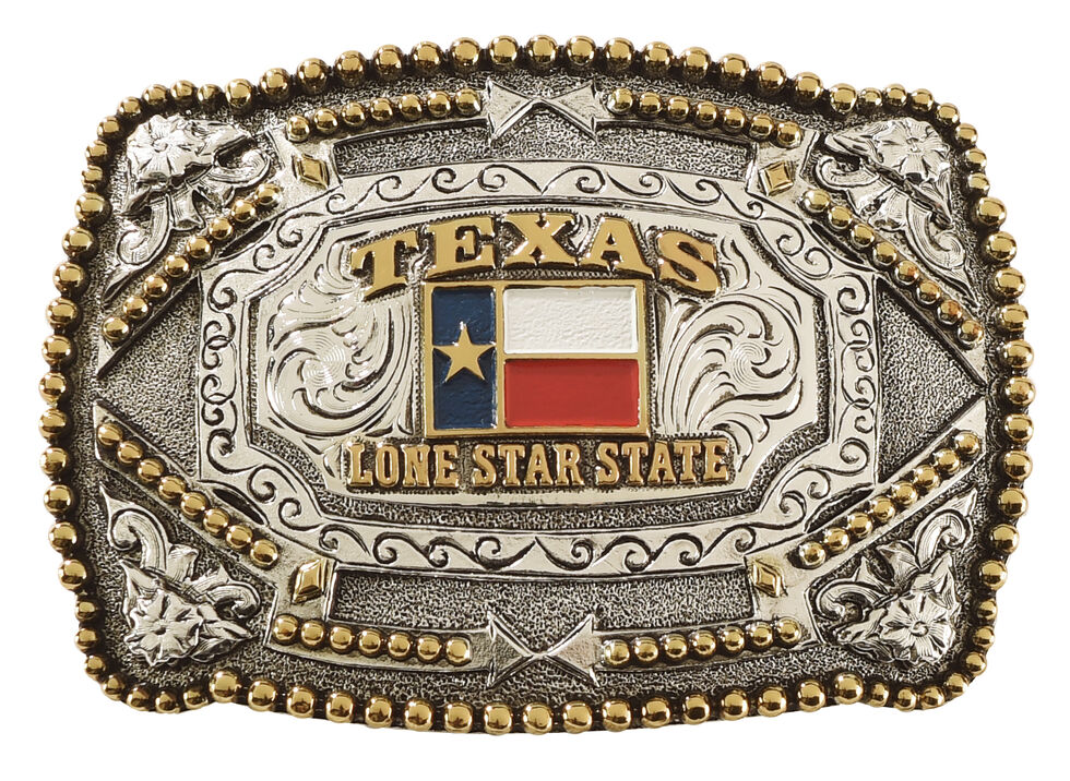 Cody James Red White and Blue Square Texas Belt Buckle, Multi, hi-res