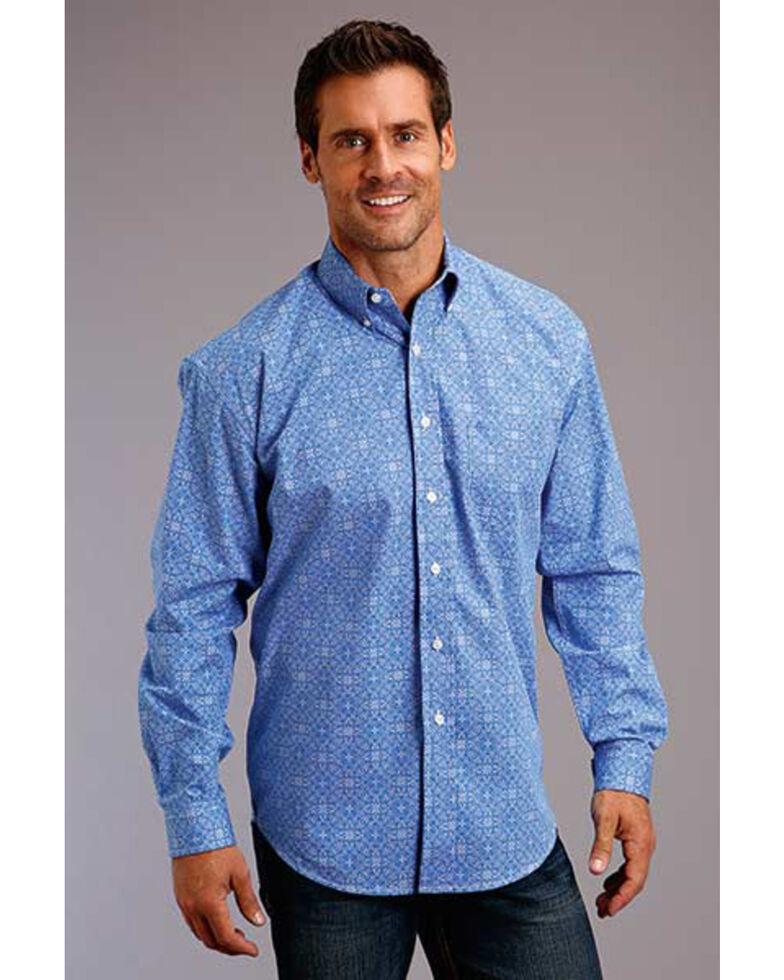 Stetson Men's Blue Filagree Print Long Sleeve Western Shirt , Blue, hi-res