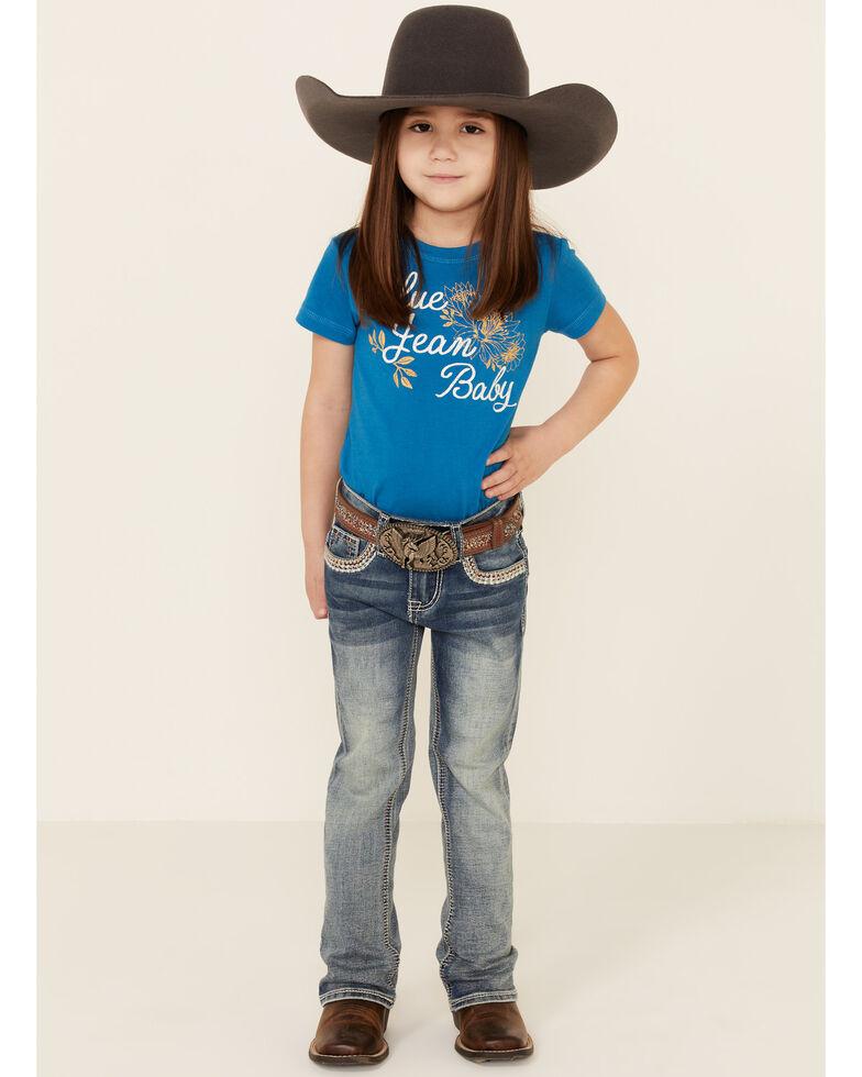 Grace In LA Toddler Girls'  Border Stitched Embellishment Pocket Bootcut Jeans , Blue, hi-res