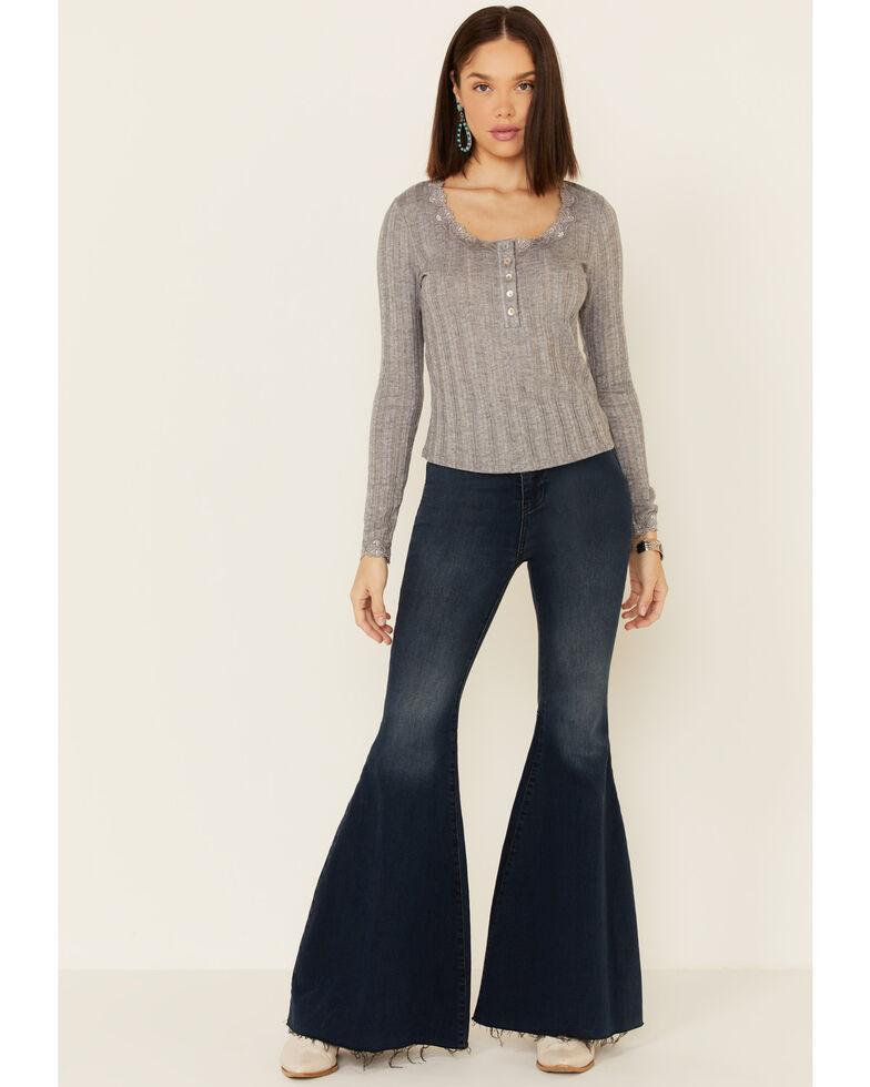 Lunachix Women's Ribbed Knit Henley Lace Long Sleeve Top , Heather Grey, hi-res
