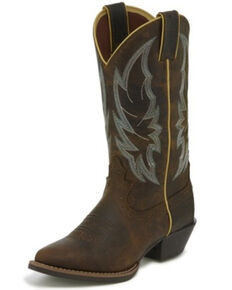 Justin Women's Calimero Distressed Western Boots - Round Toe, Chocolate, hi-res