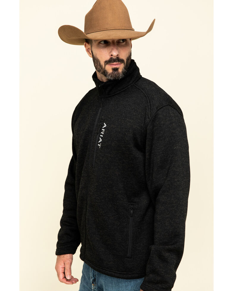 Ariat Men's Charcoal Caldwell Full Zip Sweater Jacket , Charcoal, hi-res