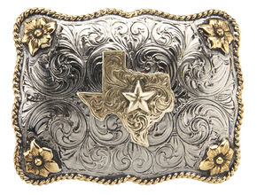 AndWest Men's Two-Tone Texas Star Belt Buckle, Two Tone, hi-res