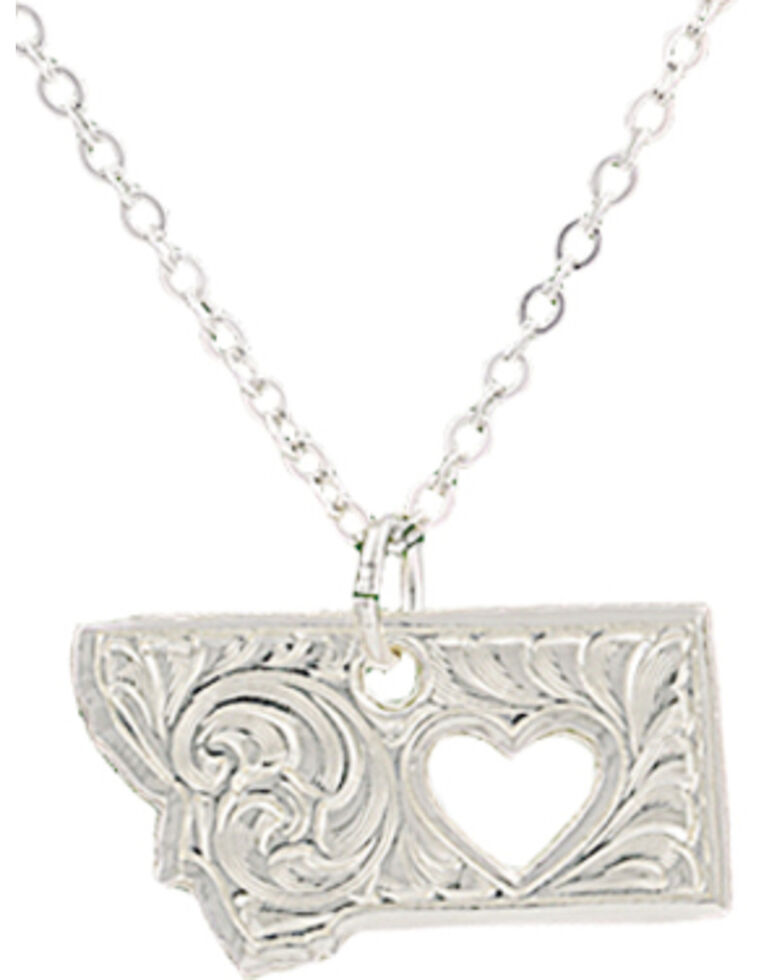 "Montana Silversmiths ""I Heart Montana"" Necklace, Silver, hi-res"