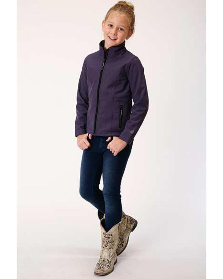 Roper Girls' Soft Shell Fleece Jacket , Purple, hi-res