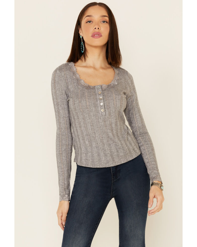 Luna Chix Women's Ribbed Knit Henley Lace Long Sleeve Top , Heather Grey, hi-res