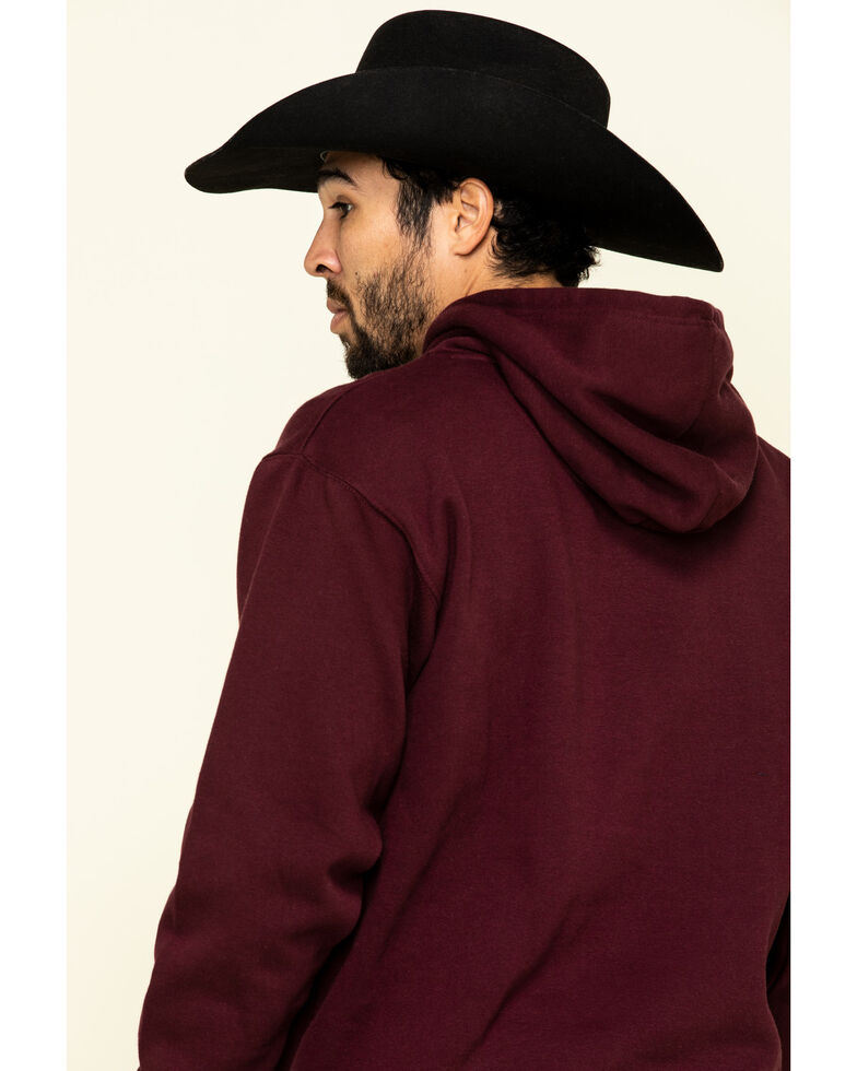 Wrangler Men's Maroon Logo Graphic Hooded Sweatshirt , Maroon, hi-res