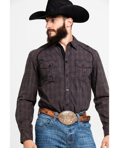 Austin Season Men's Embroidered Cross Plaid Button Long Sleeve Western Shirt, Brown, hi-res