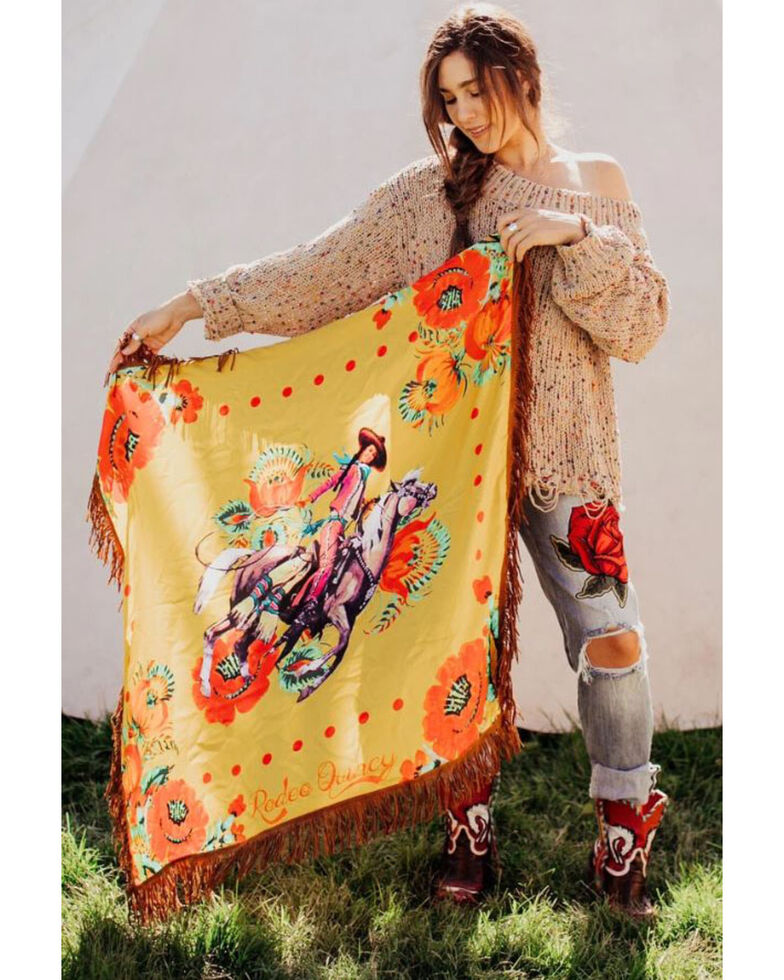 Rodeo Quincy Women's Santa Ynez Wild Rag Scarf, Mustard, hi-res
