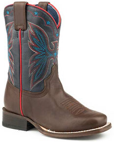 Roper Youth Girls' Finn Western Boots - Square Toe, Brown, hi-res