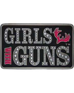 Montana Silversmiths Girls with Guns Embellished Belt Buckle, Silver, hi-res