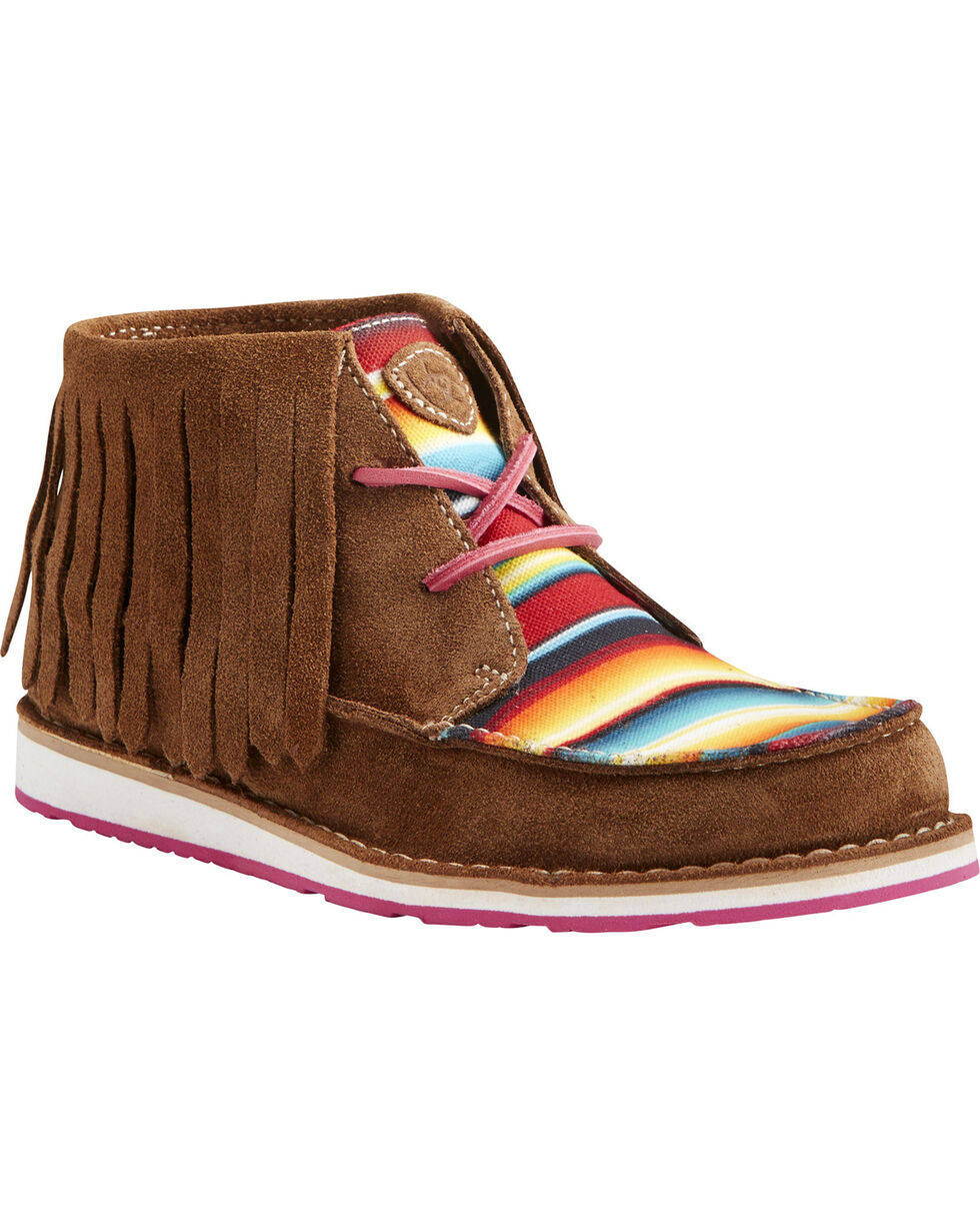 Ariat Women's Serape Stripe Fringe Cruiser Chukkas - Moc Toe, Dark Brown, hi-res