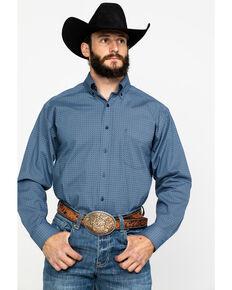 Tuf Cooper Men's Indigo Stretch Geo Print Long Sleeve Western Shirt , Indigo, hi-res