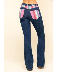 Ranch Dress'n Women's Serape Bootcut Jeans , Blue, hi-res