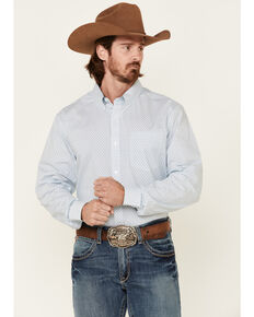 Cody James Core Men's Vintage Geo Print Long Sleeve Button-Down Western Shirt , Blue, hi-res