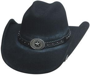 Bullhide Hats Men's Cowboy Collection Stray Bullet Wool Felt Western Hat, Black, hi-res