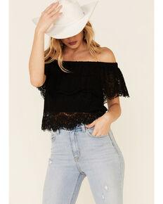 HYFVE Women's Lace Off-Shoulder Short Sleeve Crop Top, Black, hi-res