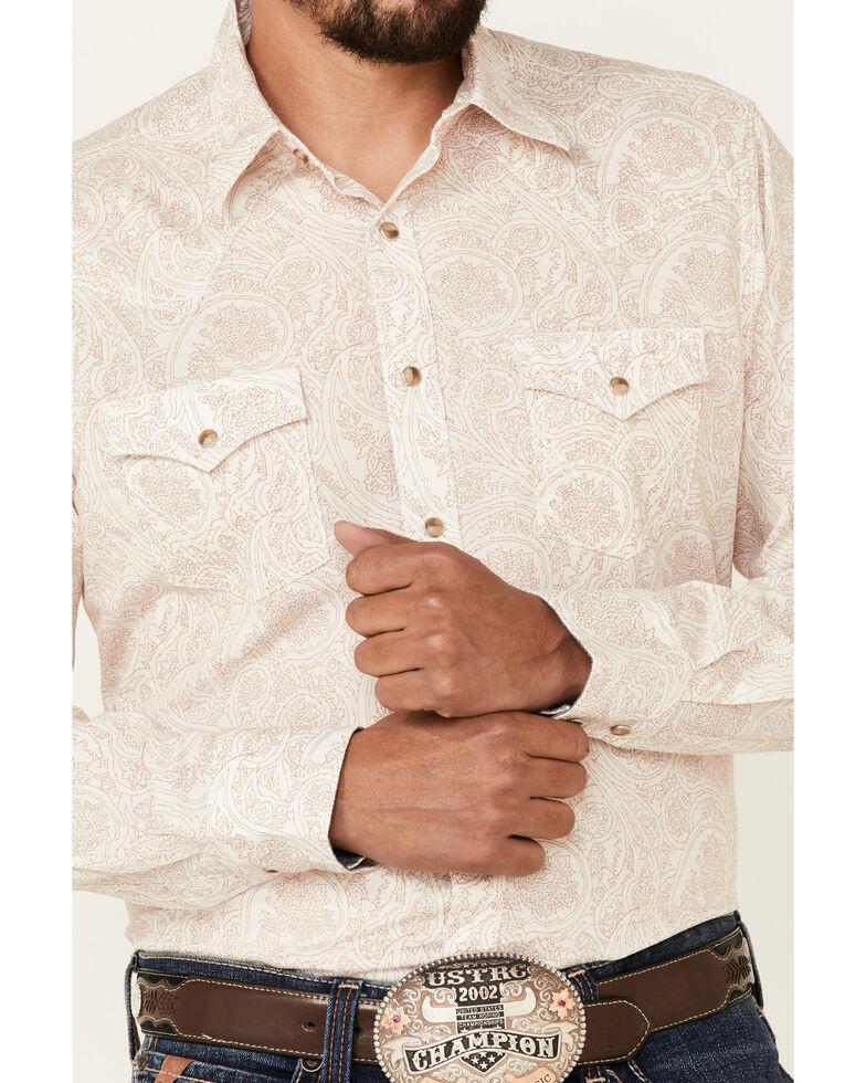 Wrangler Retro Premium Men's Ivory Paisley Print Long Sleeve Snap Western Shirt , Ivory, hi-res