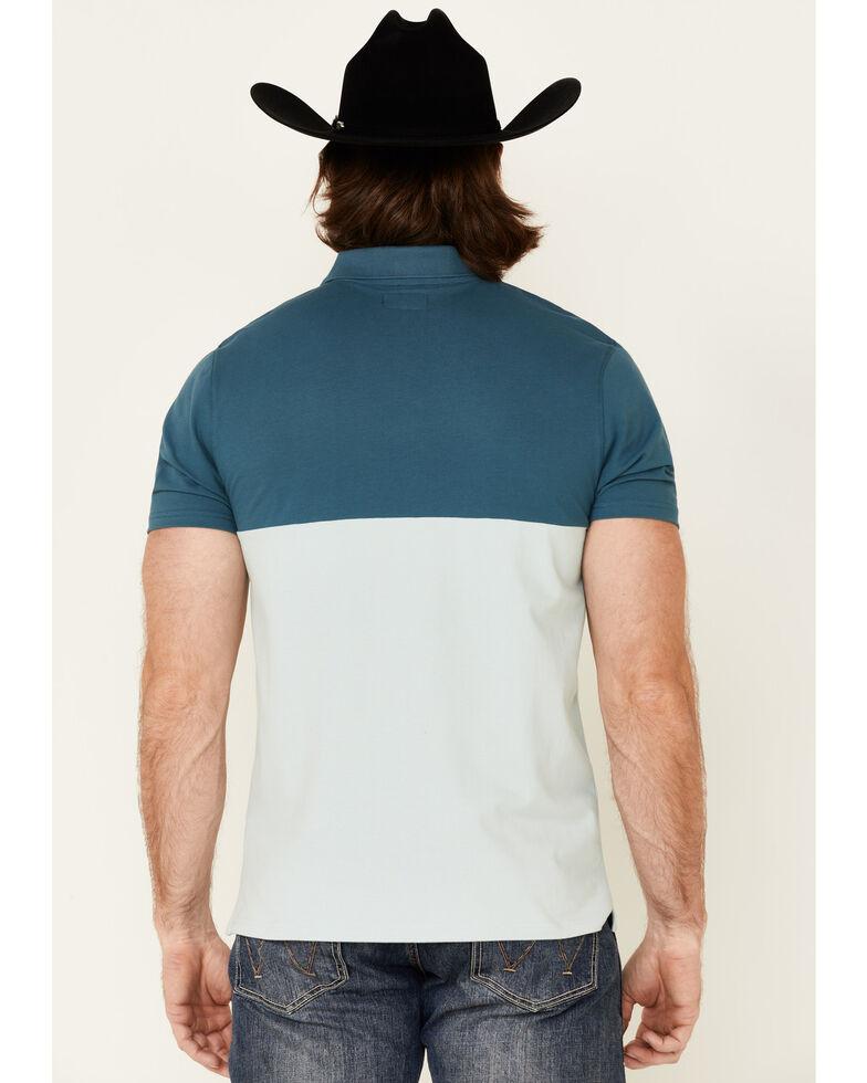 HOOey Men's Blue Chest Stripe Maverick Short Sleeve Polo Shirt  , Blue, hi-res