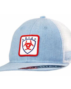Ariat Men's Powder Blue & White Logo Patch Mesh-Back Ball Cap , Blue, hi-res