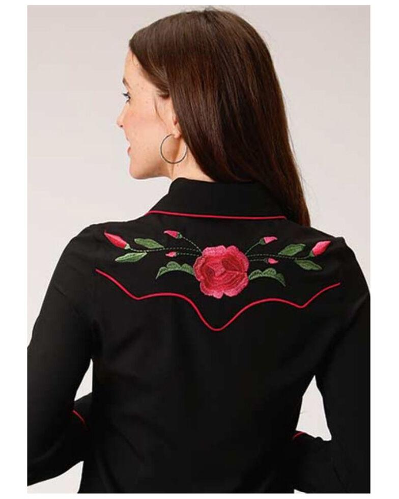 Old West Women's Black Rose Embroidered Long Sleeve Western Shirt, Black, hi-res