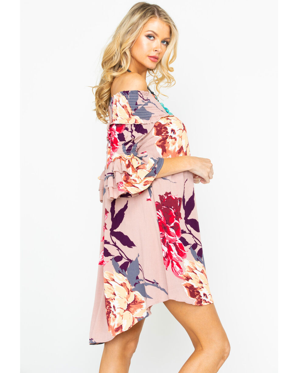 Shyanne Women's Smocked Shoulder Floral Dress , Blush, hi-res