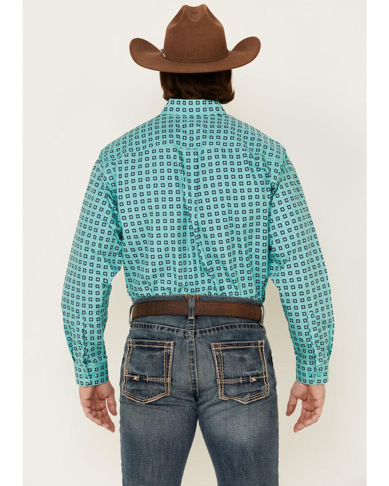 Cinch Men's Floral Geo Print Long Sleeve Western Shirt , Turquoise, hi-res