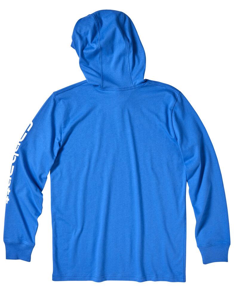 Carhartt Boys' 4-7 Blue Sleeve Logo Hooded Sweatshirt , Blue, hi-res