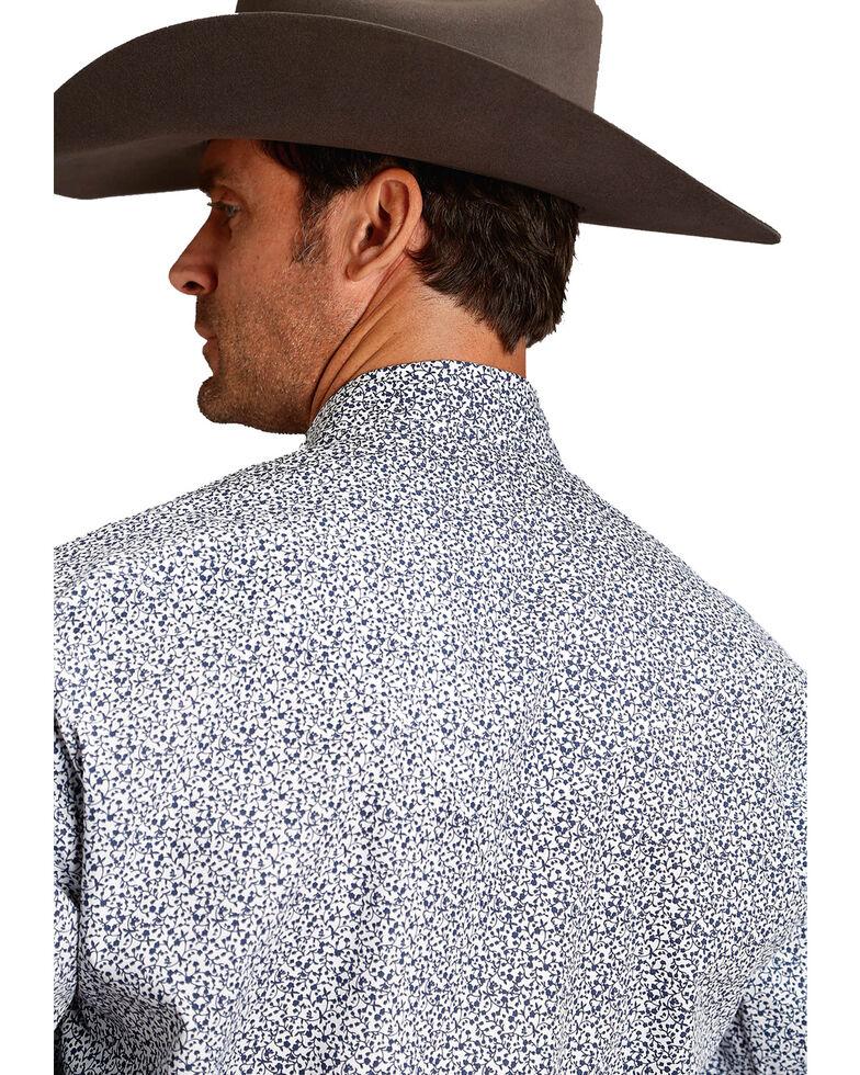 Stetson Men's Blue Small Floral Print Long Sleeve Western Shirt , Blue, hi-res