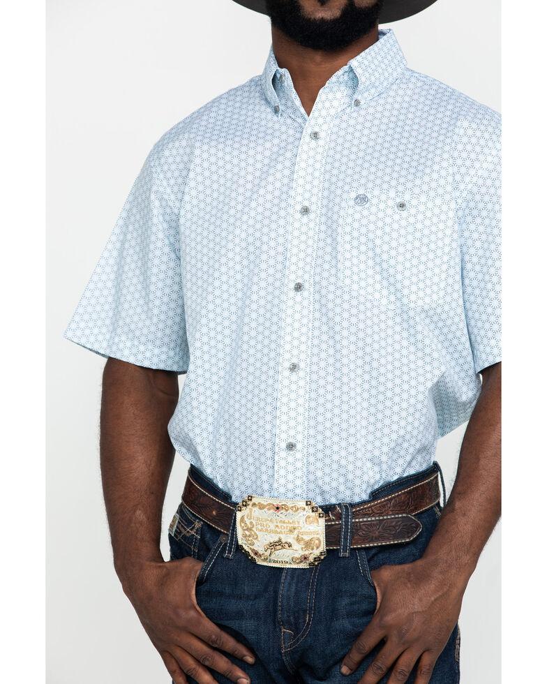 Wrangler Men's Classic Blue Floral Geo Print Short Sleeve Western Shirt , Blue, hi-res