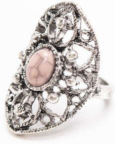 Shyanne Women's Moonlit Filigree Rhinestone Ring , Silver, hi-res