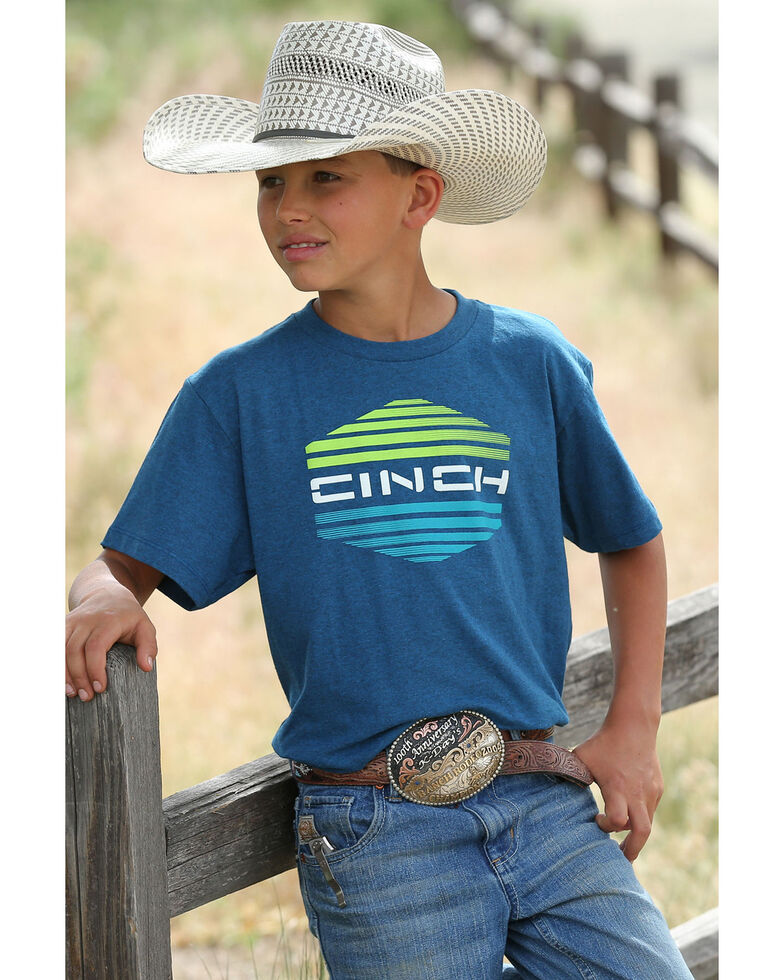Cinch Boys' Striped Logo Graphic T-Shirt , Blue, hi-res