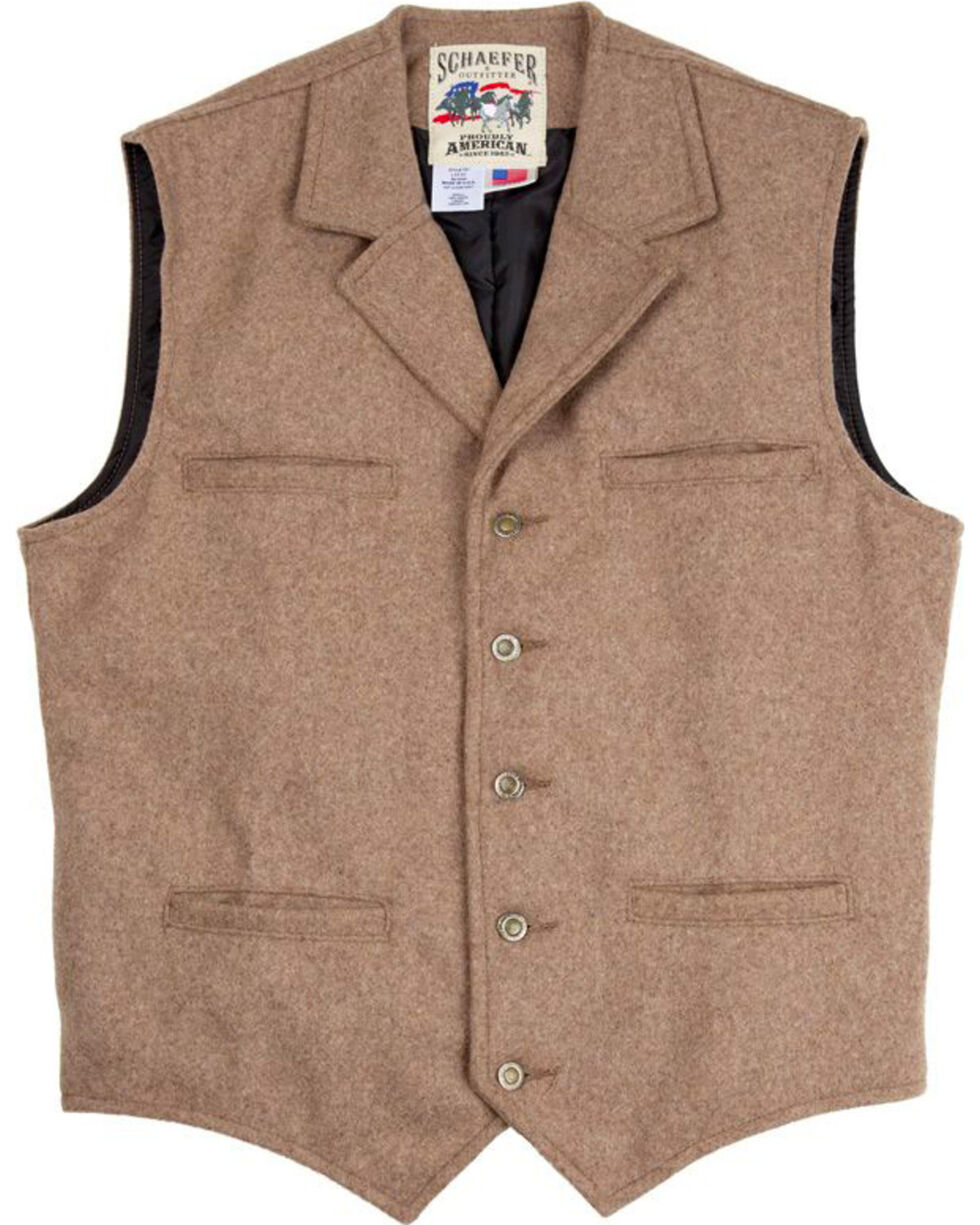 Schaefer Outfitter Men's 707 McClure Taupe Melton Wool Vest, Taupe, hi-res