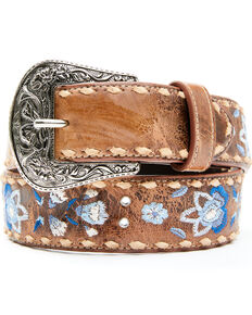 Shyanne Women's Shades Of Blue Floral Embroidery Belt , Brown, hi-res