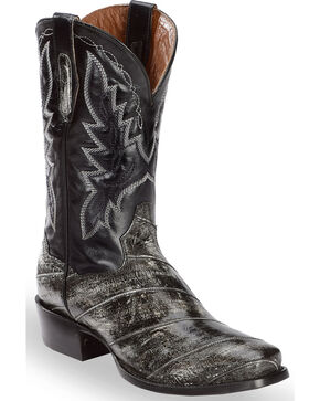Dan Post Men's Eel Cowboy Boots - Square Toe, Grey, hi-res