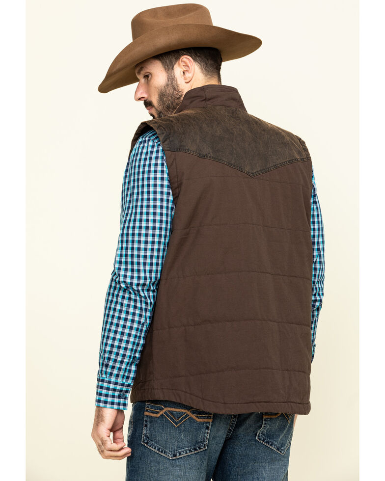 Cody James Men's Brookstown Puffer Washed Oil Skin Vest , Brown, hi-res