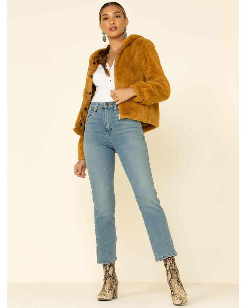 26 International Women's Mustard Faux Fur Hooded Jacket , Mustard, hi-res
