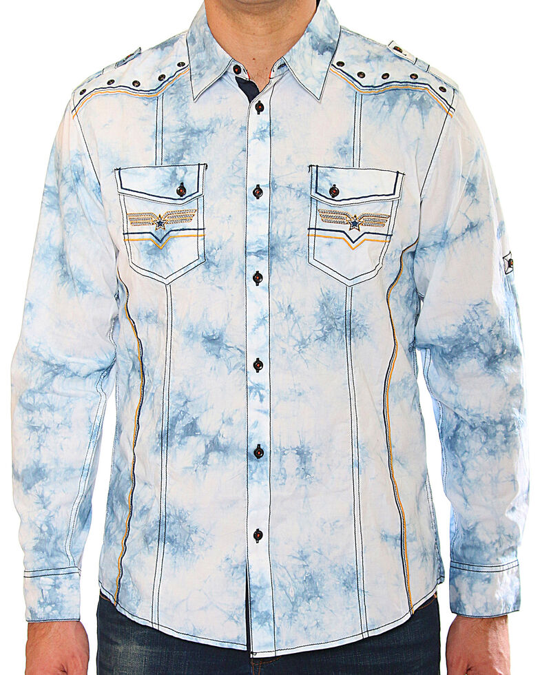 Austin Season Men's Long Sleeve Embroidered Button Long Sleeve Western Shirt, Light Blue, hi-res