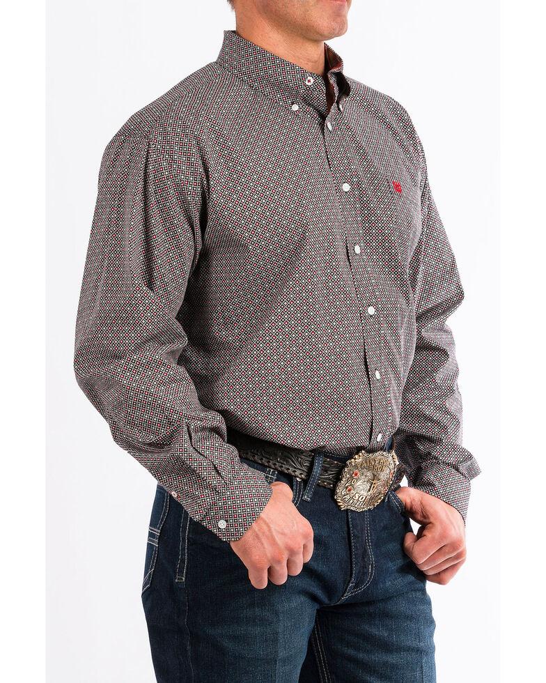 Cinch Men's Multi Geo Print Long Sleeve Western Shirt , Wine, hi-res