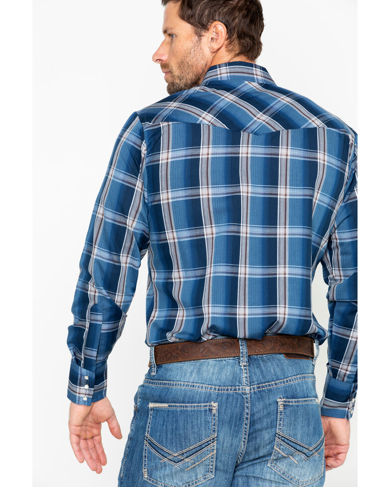 Ely Cattleman Men's Textured Plaid Long Sleeve Western Shirt - Tall, Medium Blue, hi-res