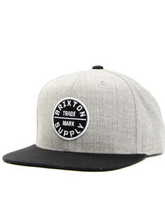Brixton Men's Light Heather Grey Oath Circle Logo Canvas Back Ball Cap , Grey, hi-res