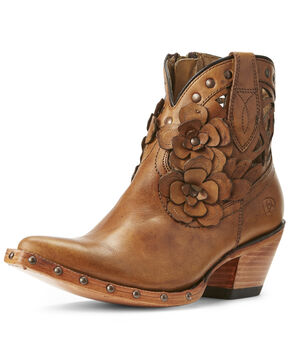 Ariat Women's Flora Teak Western Booties - Snip Toe, Brown, hi-res