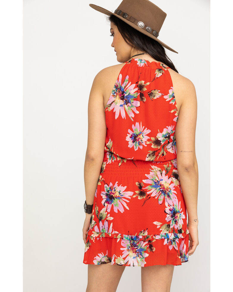 Miss Me Women's Red Floral Halter Keyhole Dress, Red, hi-res