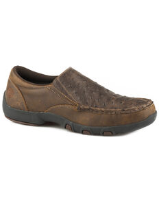 Roper Men's Owen Embossed Ostrich Driving Mocs - Moc Toe, Brown, hi-res