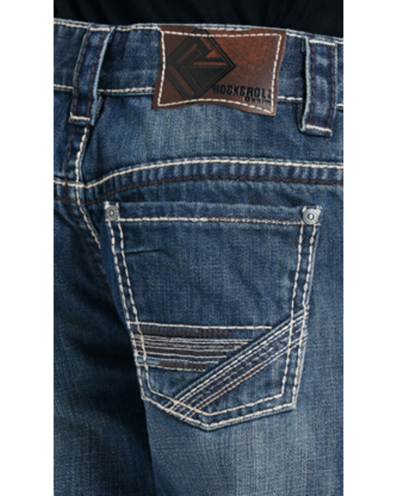 Rock & Roll Denim Boys' Heavy Abstract Embroidered Boot Cut Jeans , Indigo, hi-res