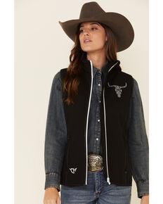Cowboy Hardware Women's Black Steer Head Embroidered Soft Shell Vest, Black, hi-res